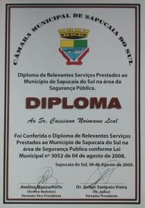 Diploma relevantes serviços prestados à Sapucaia do Sul
